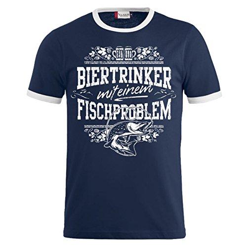 Männer und Herren T-Shirt Biertrinker mit einem Fischproblem (mit Rückendruck) Dunkelblau/Weiß