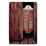 Bathroom Bath rug Kitchen Floor Mat Carpet,Western,Old Vintage Rustic Wild West Theme Swinging Cowboy Bar Saloon Door Picture,Brown And Peru,Flannel Microfiber Non-Slip Soft Absorbent
