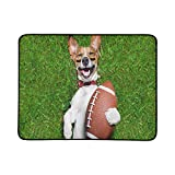 WOCNEMP Fußball-Hund, der Rugby-Ball lacht, tragbare und Faltbare Deckenmatte 60x78 Zoll handliche Matte für kampierenden Picknick-Strand