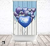 EXTARTIQE Duschrollo Badrollo 120cm Textil pls Blue Ballon Shower Rollo