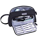Aiscool Big Capacity Pencil Case Bag Pen Pouch Holder Large Storage Stationery Organizer for School Supplies Office College (Black)