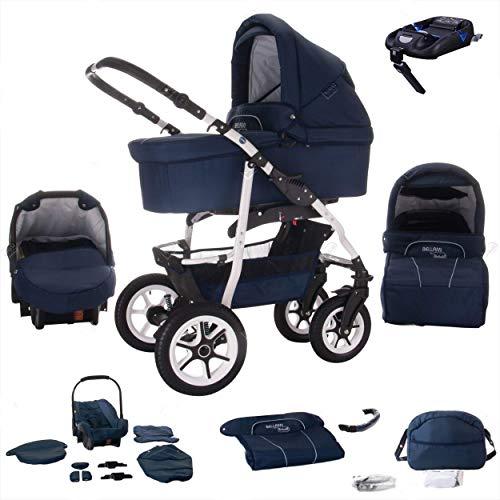 Bebebi Bellami   ISOFIX Basis & Autositz   4 in 1 Kombi Kinderwagen   Luftreifen   Farbe: Bellablue