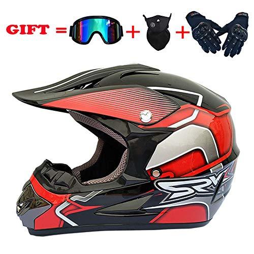 ZJRA Bright Red/Motocross Helm, Beach Racing Dirt Bike Helm Adult MX Fox Männer Und Frauen ATV, DOT (Handschuhe, Brillen, Masken, 4Er Set),XL60~61CM (Fox Dirt Bike Helme Racing)