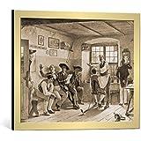 """Cuadro con marco: Benjamin Vautier """"Beim Dorfbarbier"""" - Impresión artística decorativa con marco de alta calidad, 65x50 cm, Dorado cepillado"""