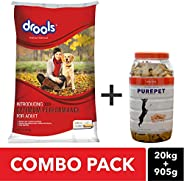 COMBO PACK - Drools Optimum Performance Adult Dog Food, 20kg and Purepet Real Chicken Dog Treats, 905 gm