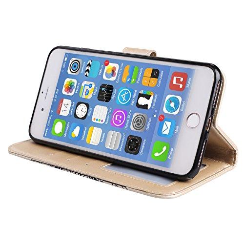 Ekakashop Custodia iPhone 7 plus 5.5, Puro Colore Fiore Modello Sollievo Design Portafoglio Tasca Book Folding Case Cover in PU pelle Borsa Con Cinturino Portatile Antiurto Shock-Absorption Cover Ult doro