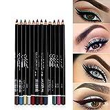 12 colori Pro penna eyeliner set matita eyeliner impermeabile alta pigmentato lip liner duratura penna Matita per eyeliner sopracciglio glitter kit trucco per le donne ragazza