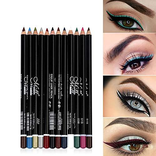 12 colores Pro Eyeliner Pen Set Lápiz delineador