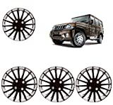 Carazy- Wheel Cover Caps 15 Inches Silver and Black Compatible with Mahindra Bolero