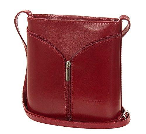 Piccola borsa a tracolla in pelle italiana - serata in pelle liscia (18 x 19 x 7 cm) Rosso (rosso)