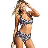 VENCA Zweiteiliger Bikini mit Blumenprint und Hose mit Hohem Bund,Marineblau-Bedruckt,90B