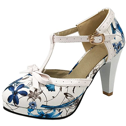 COOLCEPT Damen Bogen Sandalen Hohe Irregular Blumen Schuhe Size 0-11 481 Green