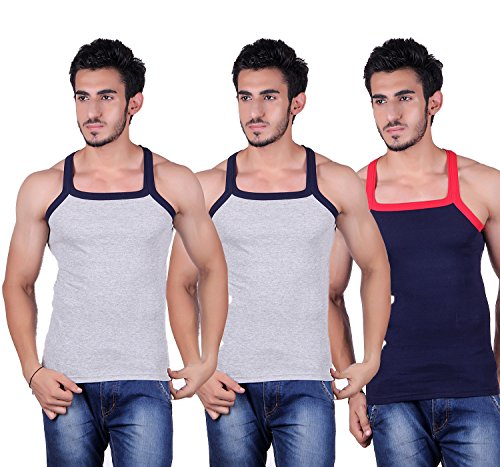 Zimfit Men's Cotton Gym Vest Pack Of 3 - (Grey_Grey_Navy) (M)
