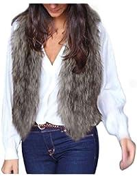 Tongshi Escudo Mujeres Chaleco sin mangas Prendas de abrigo de pelo largo Chaleco Chaqueta