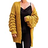Marimo24 Blogger Style Damen Cardigan Pompom Strickjacke Bommel Grobstrick Herbst Winter OneSize Oversize XS S M L XL Senf Gelb