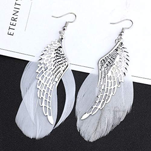 Izhiheng Classic Elegant Angel Wing Dangle Ohrringe Long White Feather Earring for Womens Fashion Punk Style Jewelry Accessories(None As shown in the figure) (Womens White Angel Kostüm)