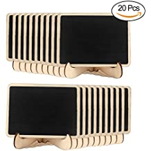 AerWo - 20 minitarjetas de pizarra con soporte para pizarras de madera, para bodas,