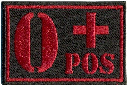 0+POS Blutgruppe 0 Positiv Military Survivor Biker Rotkreuz Abzeichen Aufnäher
