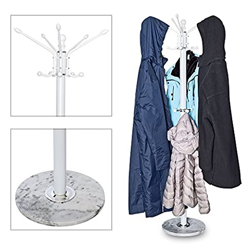 1.73M Metal Coat, Hat, Jacket, Umbrella & Scarf Stand Rack Hall Storage with Heavy Marble Base