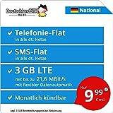 DeutschlandSIM LTE 2000 National - monatlich kündbar (3 GB LTE mit max. 21,6 MBit/s inkl. deaktivierbarer Datenautomatik, Telefonie-Flat, SMS-Flat, 9,99 Euro/Monat)