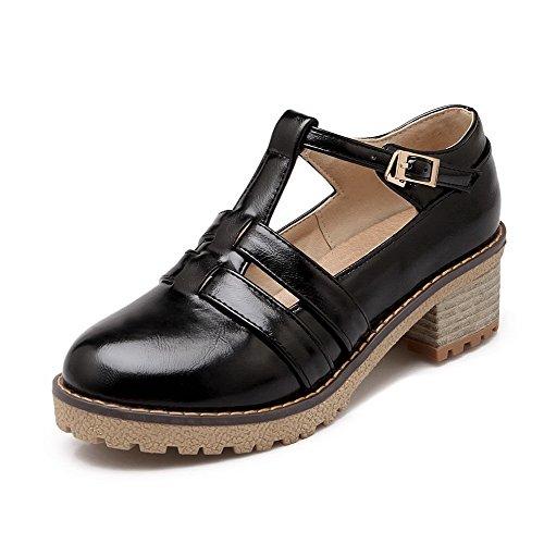 AgooLar Femme Boucle à Talon Correct Pu Cuir Couleur Unie Rond Chaussures Légeres Noir