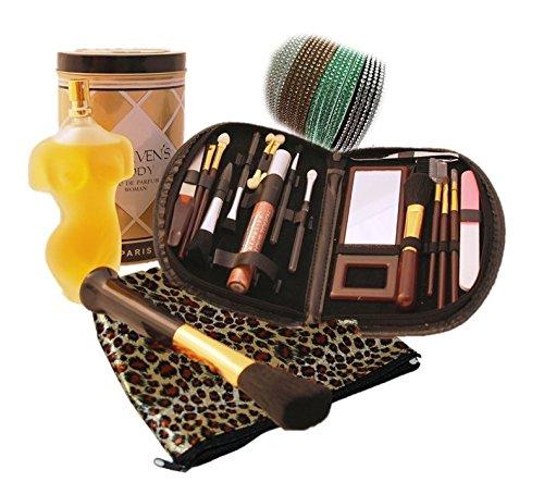 Geschenkset, Schmink, Pinselset - 20 teilig mit Etui, Kosmetiktasche, Stirnband + Parfum Haevens...