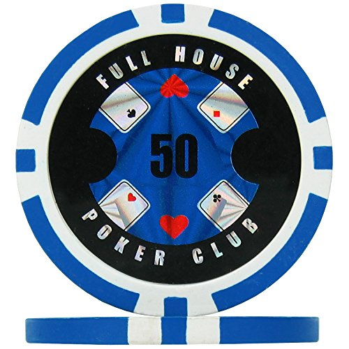 Premier Poker Chips UK Full House Poker Club Poker Chips - Light Blue 50 (Roll of 25), 14g Clay Composite