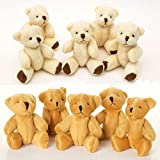 NEW 10 X Cute And Cuddly Small Teddy Bears - 5 X Brown And 5 X White - Gift Present
