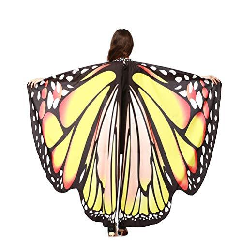 EDOTON Schmetterlingsflügel für Frauen, Nymphe Pixie Kostüm Zubehör Schals Party Cosplay Tanzkostüm (Gelb)