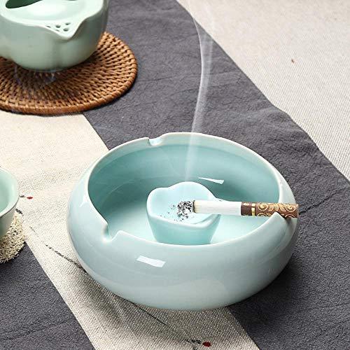 Azure Blau Keramik (Fienei Aschenbecher Großer Keramik Aschenbecher Home Wedding 13.5X10.5X5.5cm Azure (mit Feuerlöschbehälter))
