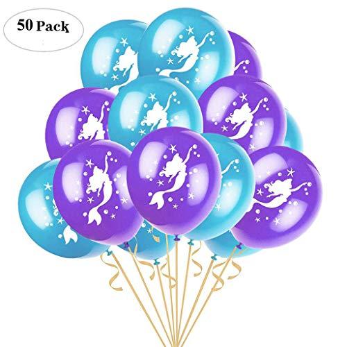 Formemory Meerjungfrau Party Ballons,50 Stücke 12 Zoll Latex-Ballons für Hochzeitsfest Dekorationen Printed Latex Birthday Party Balloons(Violett+Grün) (Meerjungfrau-dekor Kleine Die)