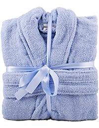 Light Blue 100% Cotton Terry Towelling Bathrobe + Matching Belt - MEDIUM