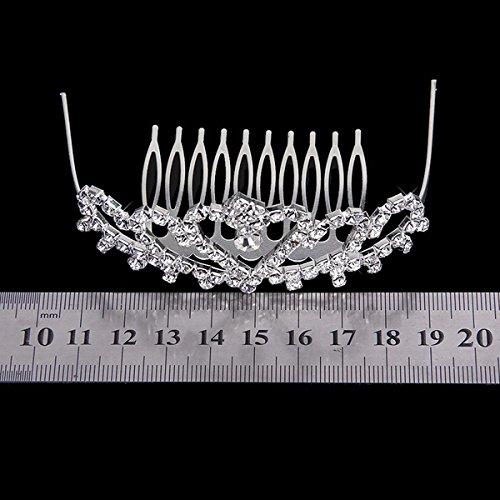 Corona Tiara Diadema Con Peine (plata) elegante para boda, novias, baile de graduación, imitación de cristal brillante PIXNOR