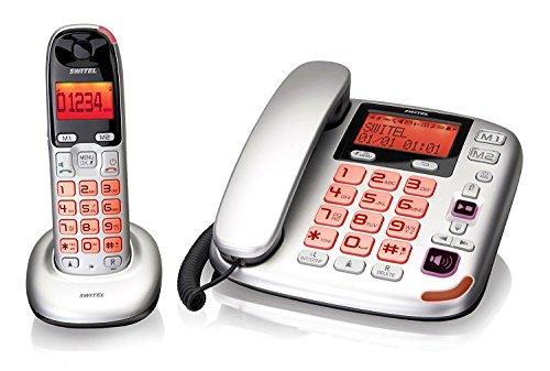 Kit Festnetztelefon + Cordless für ältere mit Anrufbeantworter Tasten XL große großes Display Volumen Verstärkt 30dB Klingelton Verstärker 80dB Lautstärke hoch Kompatibel Hörgeräte Hac Hörgeschädigte visuelle SIGNALLING Freisprecheinrichtung Anruf (Hörgerät Mode)