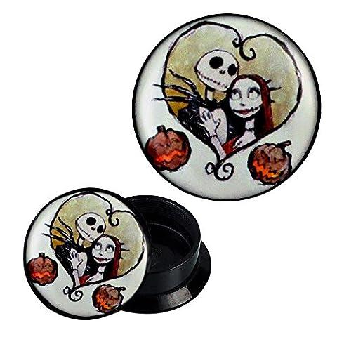 Screw Plug acrylic Zombie Couple Skeleton Pumpkin heart piercing earrings 08 mm