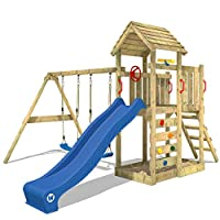 WICKEY Climbing Frame MultiFlyer Playground with Wooden roof Swing Slide Climbing Wall, Blue Slide