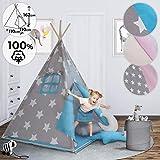 Teepee pour Enfant - avec Fond, Fenêtre, Porte, 110x110x162cm, 100% Coton, Design au Choix, avec ou sans Accessoires - Tente Tipi Indien