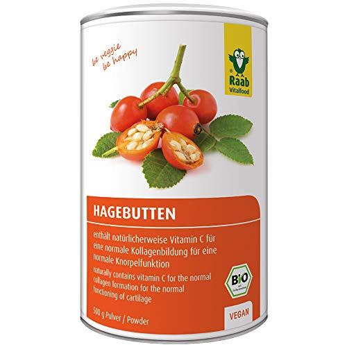 Raab Vitalfood Bio Hagebutten-Pulver, ohne Zusätze, vegan, mit natürlichem Vitamin C für eine normale Kollagenbildung und eine normale Knorpelfunktion, Hagebutte, 1er Pack (500 g Dose) -
