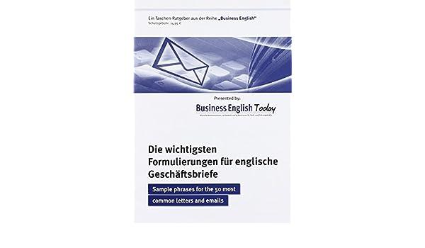 Die Wichtigsten Formulierungen Für Englische Geschäftsbriefe Sample