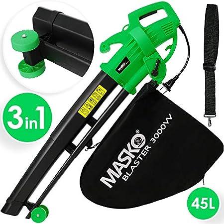MASKO® Elektro Laubsauger | 3 in 1 | 3000W | Schultergurt und Rollen | Fangsack 45L | Laubbläser Gartensauger…