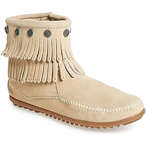Minnetonka 696 Double Fringe Side Zip Suede Boot stone