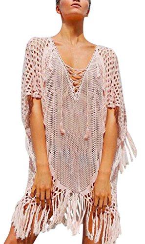 Hikong Copricostume Mare Donna Costume da Bagno a Maglia Maglietta Uncinetto con Nappe Camicetta Kimono Top Vestito per Bikini Spiaggia Beachwear