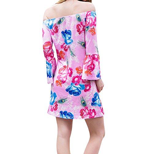 Cuddty Beach Dress Flare manica corta, collo vita alta off abito primavera estate donna Floaral casual vestito W552