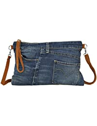 "Lae In - Sac Pochette - ""Jeans Recyclé et Cuir Veau Velours"" - Made in Italy - Plusieurs teintes (denim brut, stone washed...)"