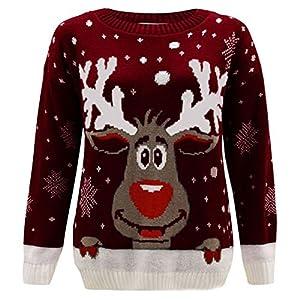 Janisramone capretti Ragazze boys Nuovo renna stampare Lungo Manica Natale Jumper bambini Retro Novelty Inverno maglione