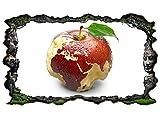 3D Wandtattoo Apfel Europa Karte Afrika Weltkarte Bild selbstklebend Wandbild sticker Wohnzimmer Wand Aufkleber 11G745, Wandbild Größe F:ca. 162cmx97cm