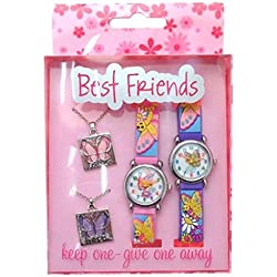 Best Friends watches and pendants gift pack - butterfly and flower design