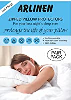 ARLINENS Anti Allergy 100% Cotton Pair of Pillow Protectors with Zip Color White