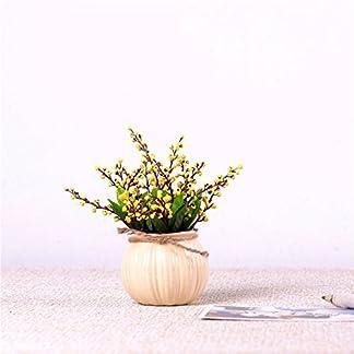 Mesmj Bouquet de Flores Artificiales Acacia Frijoles Jarrón de cerámica,Amarilla