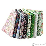 RayLineDo® 10 Stk Verschiedene Muster Multi Color 100% Baumwolle Popelin Stoff Fat Quarter Bundle 18